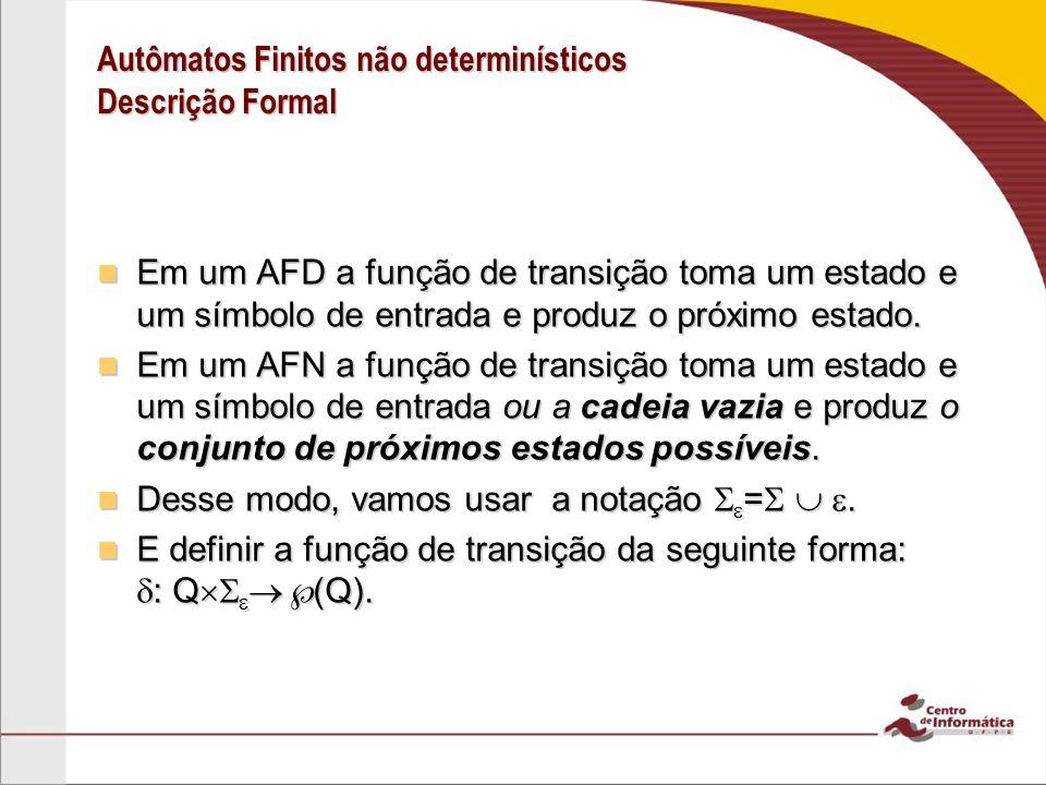 Autômatos Finitos não determinísticos Descrição Formal Em um AFD a função de transição toma um estado e um símbolo de entrada e produz o próximo estado.
