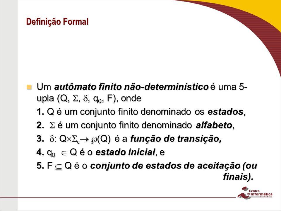 Definição Formal Um autômato finito não-determinístico é uma 5- upla (Q,,, q 0, F), onde Um autômato finito não-determinístico é uma 5- upla (Q,,, q 0, F), onde 1.
