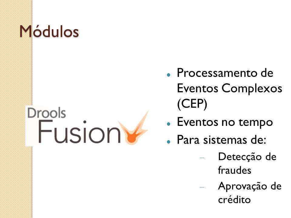Módulos Processamento de Eventos Complexos (CEP) Eventos no tempo Para sistemas de: Detecção de fraudes Aprovação de crédito