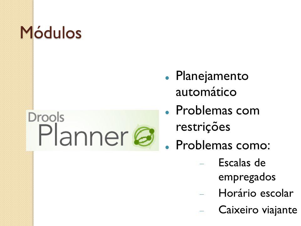 Módulos Planejamento automático Problemas com restrições Problemas como: Escalas de empregados Horário escolar Caixeiro viajante