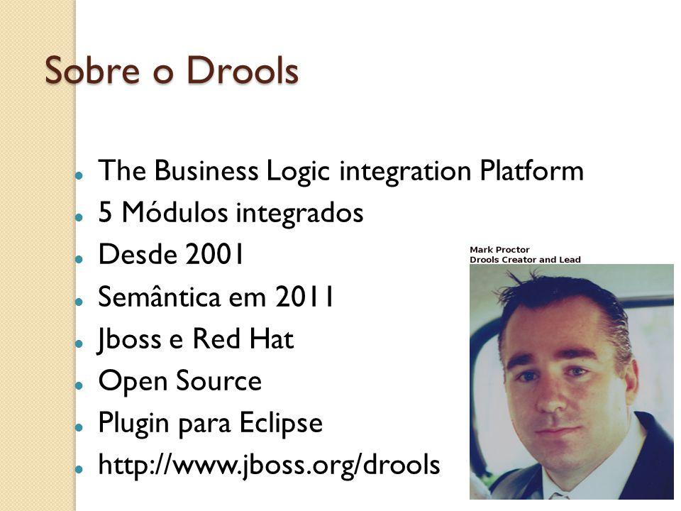 Sobre o Drools Implementa ferramentas para decisões complexas de negócio Problemas dos métodos tradicionais: If-else (Código espaguete) Uma pequena alteração precisa de recompilação e redeploy Não separa código de infraestrutura das regras de negócio O que: requisitos de negócio Como: algoritmo