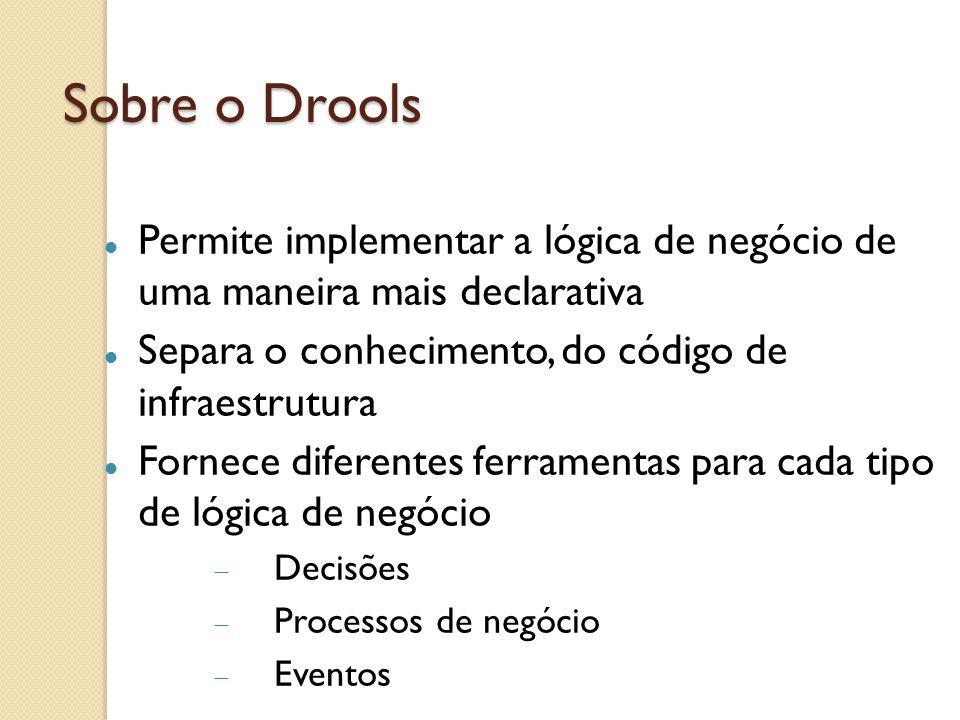 Sobre o Drools Permite implementar a lógica de negócio de uma maneira mais declarativa Separa o conhecimento, do código de infraestrutura Fornece diferentes ferramentas para cada tipo de lógica de negócio Decisões Processos de negócio Eventos