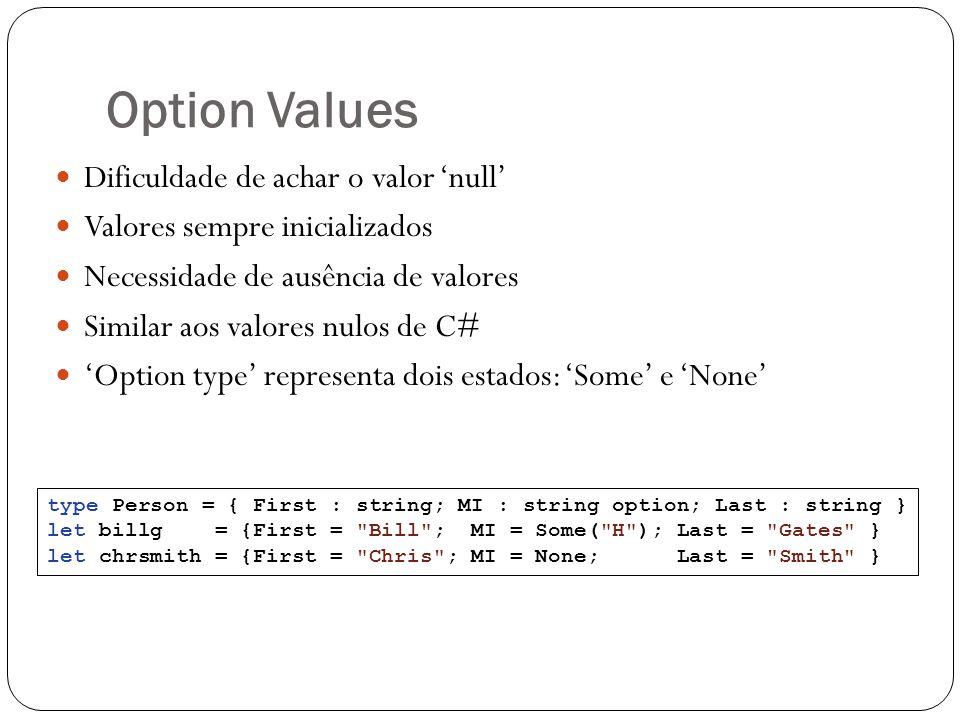 Option Values Dificuldade de achar o valor null Valores sempre inicializados Necessidade de ausência de valores Similar aos valores nulos de C# Option