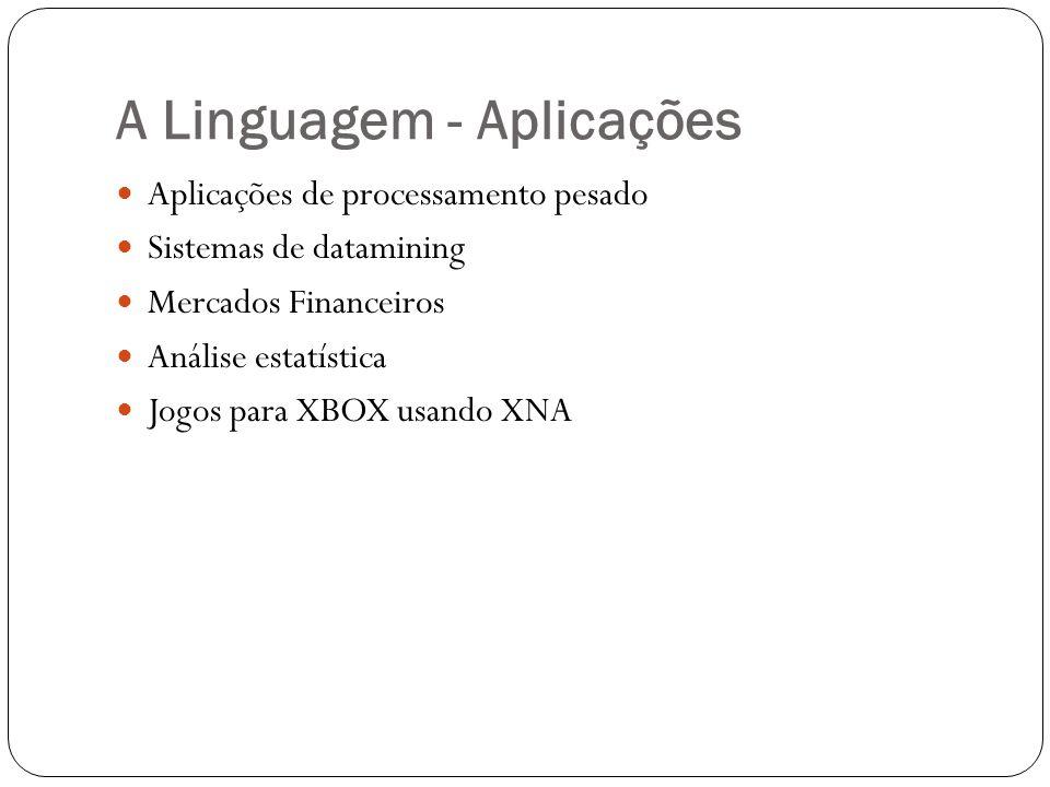 Sequences System.Collections.Generic.IEnumerator ou Seq Podem especificar séries infinitas Apenas valor atual é guardado na memória Exemplo de seqüência de todos os inteiros: let allIntegers = Seq.init_infinite (fun i -> i)