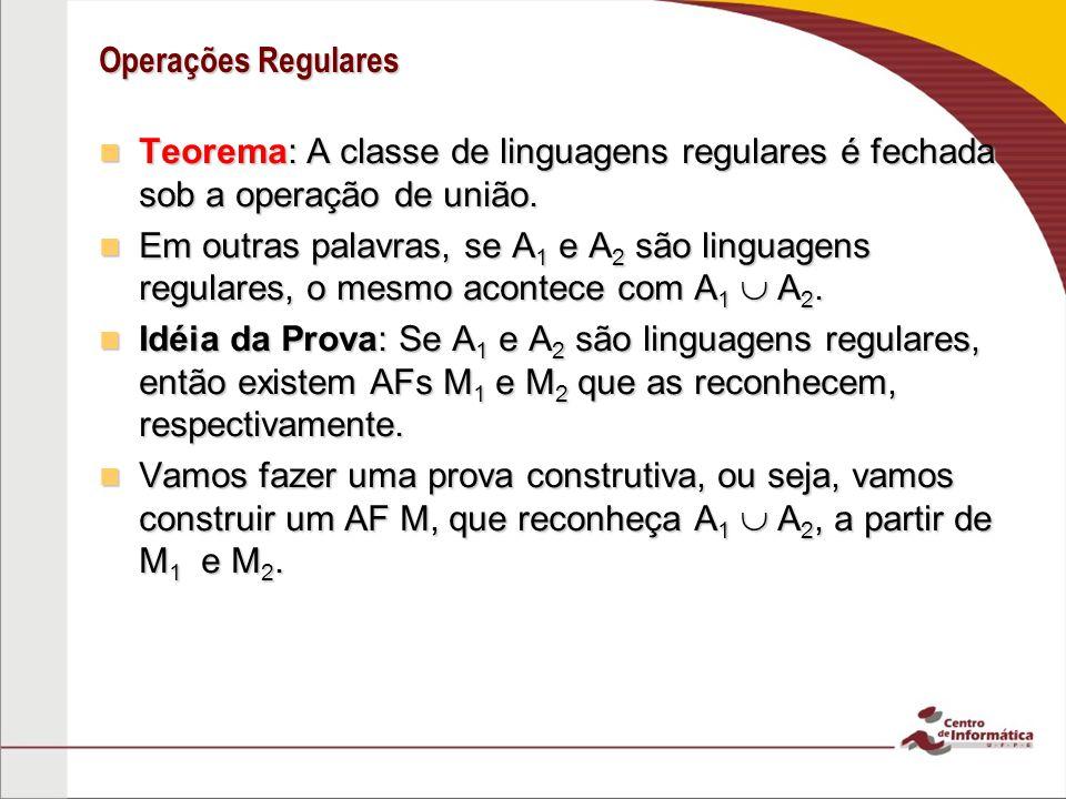 Operações Regulares Teorema: A classe de linguagens regulares é fechada sob a operação de união. Teorema: A classe de linguagens regulares é fechada s