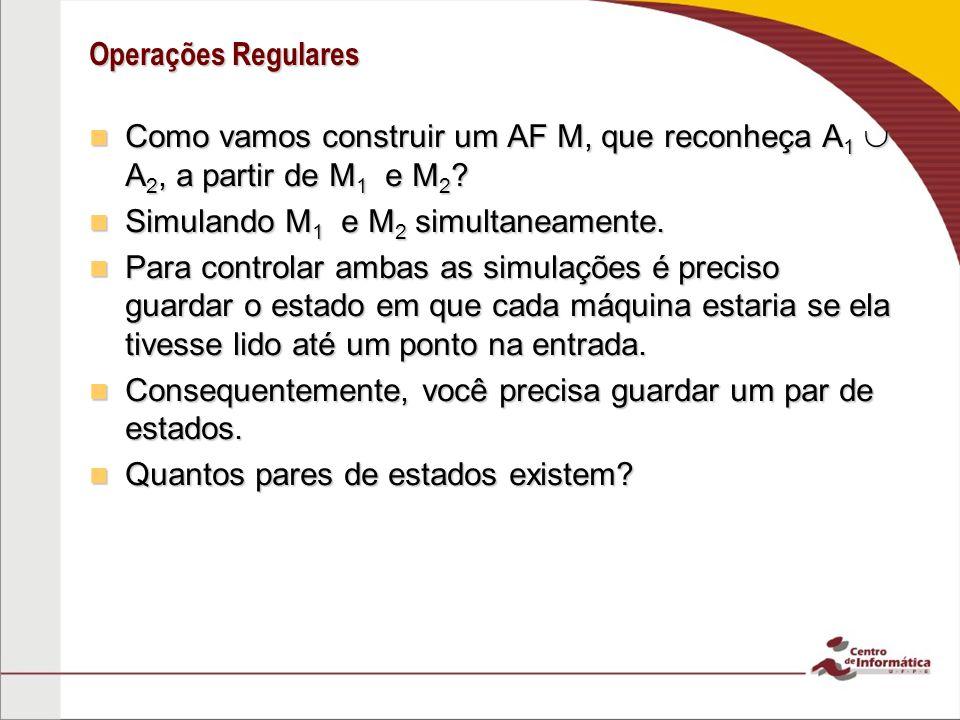 Operações Regulares Como vamos construir um AF M, que reconheça A 1 A 2, a partir de M 1 e M 2 ? Como vamos construir um AF M, que reconheça A 1 A 2,