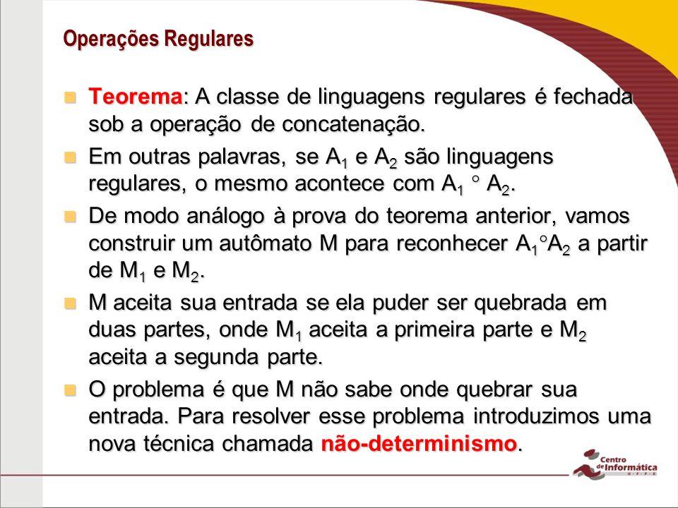 Operações Regulares Teorema: A classe de linguagens regulares é fechada sob a operação de concatenação. Teorema: A classe de linguagens regulares é fe
