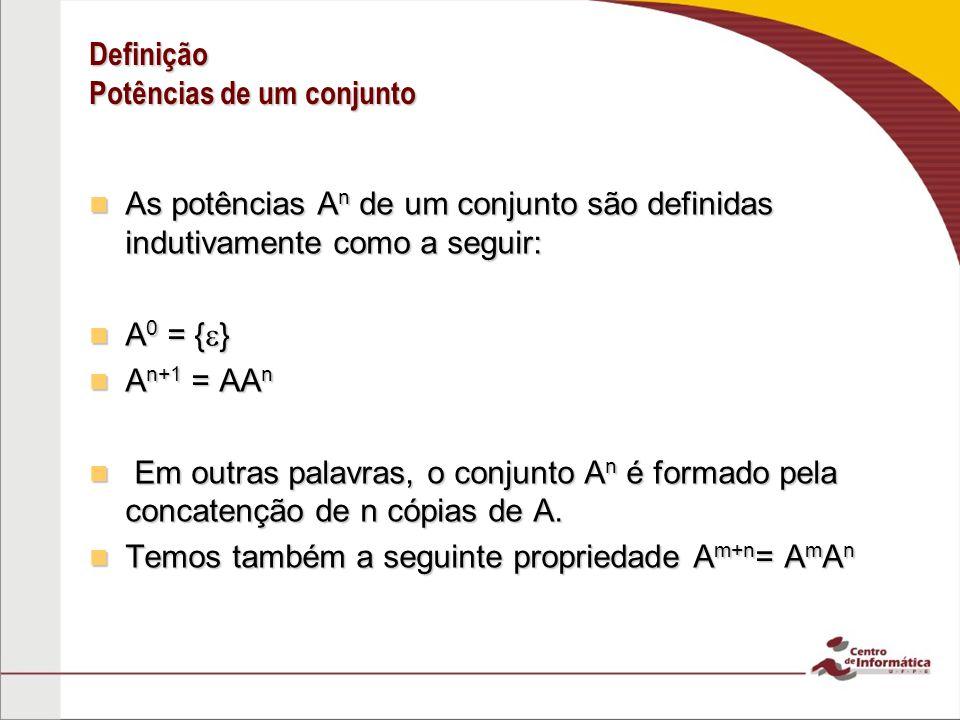 Definição Potências de um conjunto As potências A n de um conjunto são definidas indutivamente como a seguir: As potências A n de um conjunto são defi