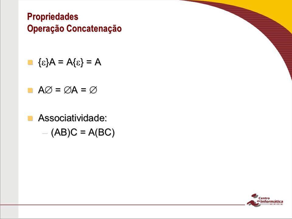 Propriedades Operação Concatenação Distributiva em relação à união: Distributiva em relação à união: –A(B C) = AB BC –(A B)C = AC BC Você acha que a concatenação é distributiva em relação à interseção.