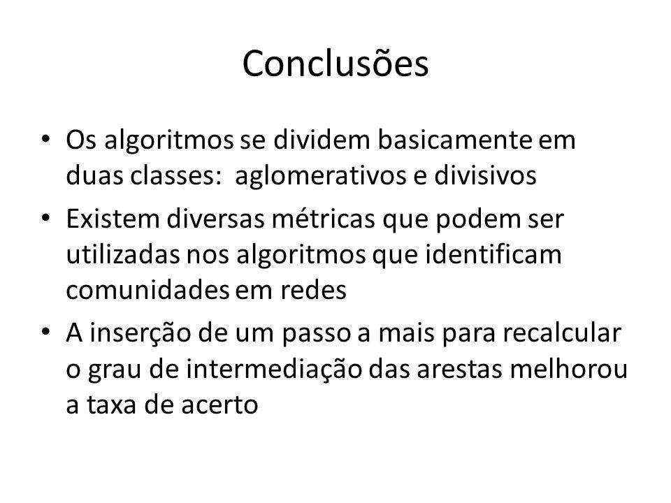 Conclusões Os algoritmos se dividem basicamente em duas classes: aglomerativos e divisivos Existem diversas métricas que podem ser utilizadas nos algo