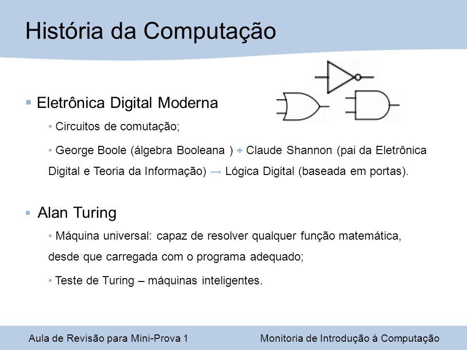 Eletrônica Digital Moderna Circuitos de comutação; George Boole (álgebra Booleana ) + Claude Shannon (pai da Eletrônica Digital e Teoria da Informação