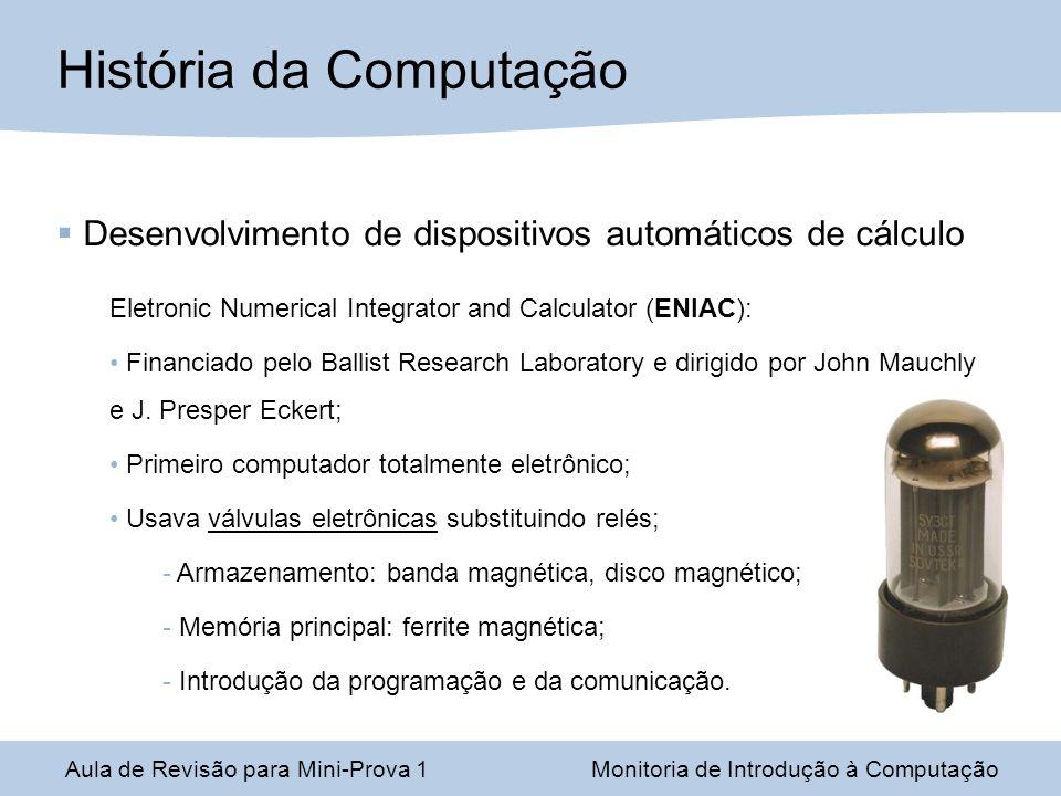 Desenvolvimento de dispositivos automáticos de cálculo Eletronic Numerical Integrator and Calculator (ENIAC): Financiado pelo Ballist Research Laborat