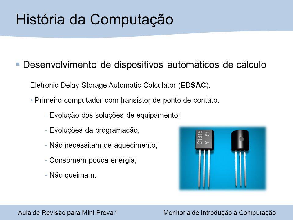 Desenvolvimento de dispositivos automáticos de cálculo Eletronic Delay Storage Automatic Calculator (EDSAC): Primeiro computador com transistor de ponto de contato.