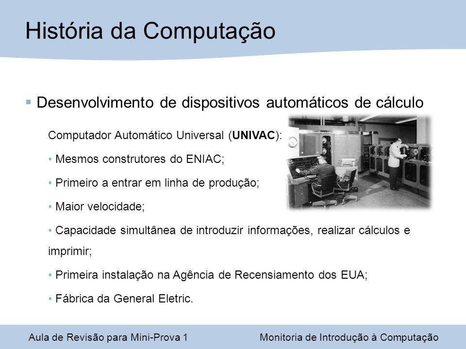 Desenvolvimento de dispositivos automáticos de cálculo Computador Automático Universal (UNIVAC): Mesmos construtores do ENIAC; Primeiro a entrar em li