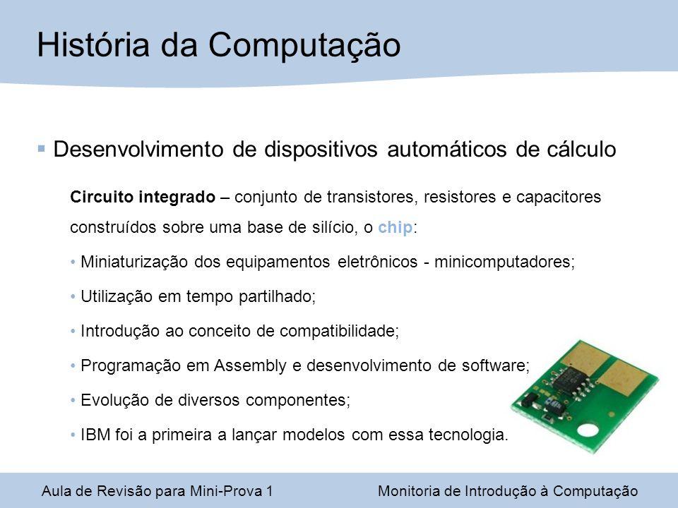Desenvolvimento de dispositivos automáticos de cálculo Circuito integrado – conjunto de transistores, resistores e capacitores construídos sobre uma b