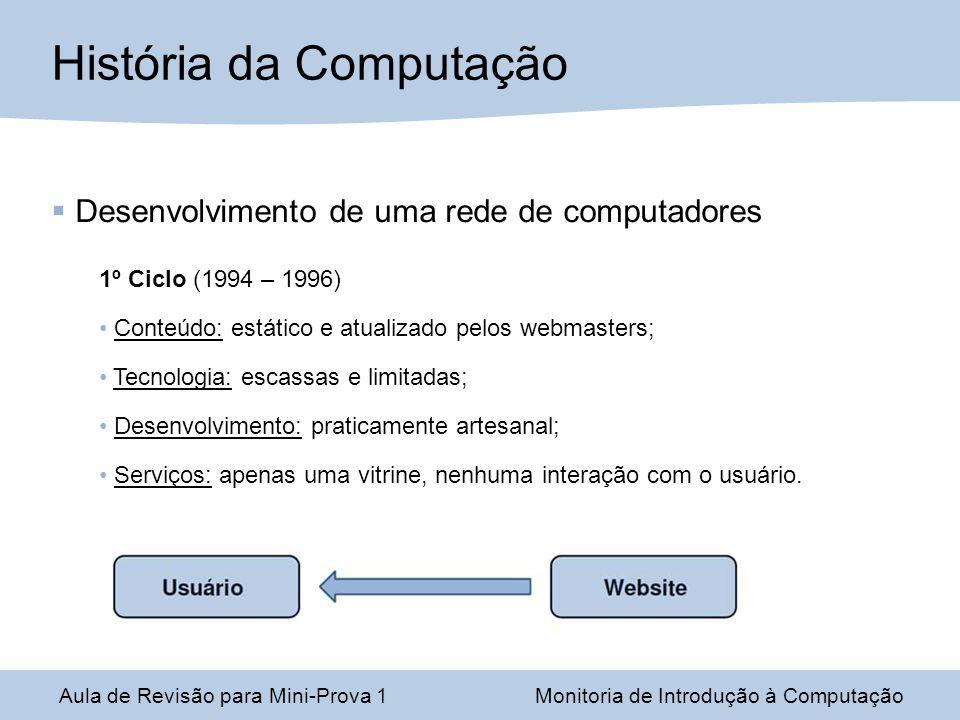 Desenvolvimento de uma rede de computadores 1º Ciclo (1994 – 1996) Conteúdo: estático e atualizado pelos webmasters; Tecnologia: escassas e limitadas;