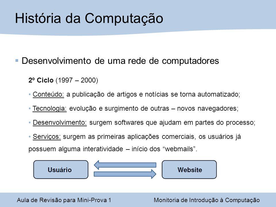 Desenvolvimento de uma rede de computadores 2º Ciclo (1997 – 2000) Conteúdo: a publicação de artigos e notícias se torna automatizado; Tecnologia: evo