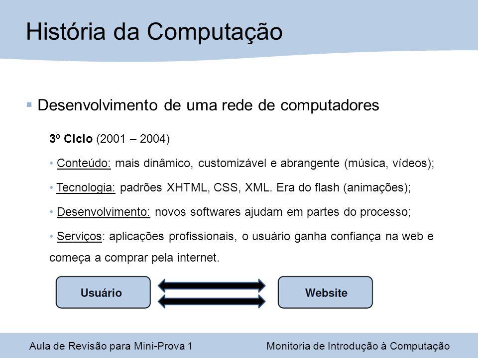 Desenvolvimento de uma rede de computadores 3º Ciclo (2001 – 2004) Conteúdo: mais dinâmico, customizável e abrangente (música, vídeos); Tecnologia: pa