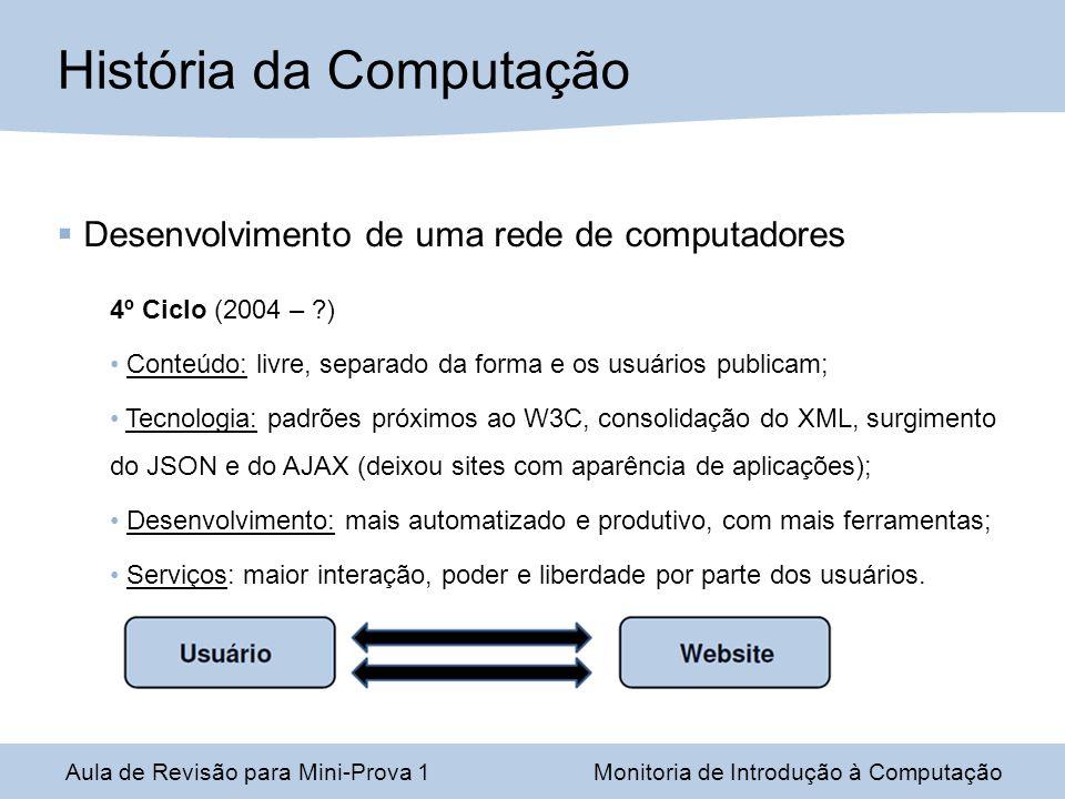 Desenvolvimento de uma rede de computadores 4º Ciclo (2004 – ?) Conteúdo: livre, separado da forma e os usuários publicam; Tecnologia: padrões próximo