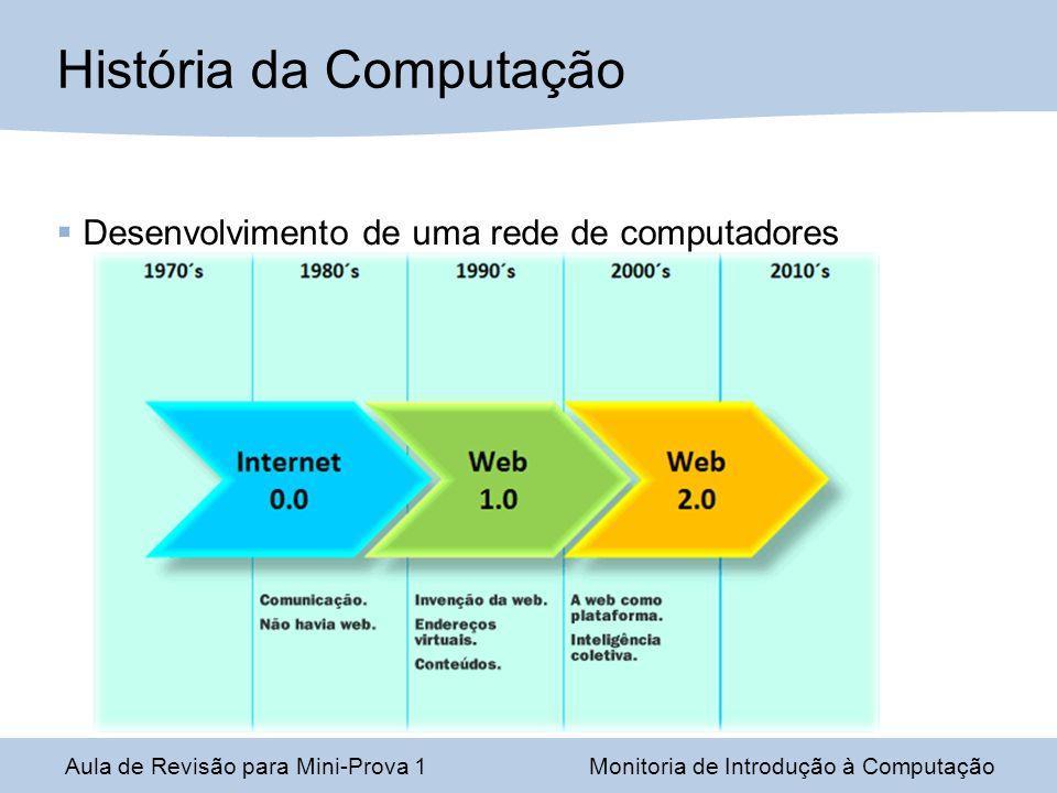 Desenvolvimento de uma rede de computadores Aula de Revisão para Mini-Prova 1Monitoria de Introdução à Computação História da Computação