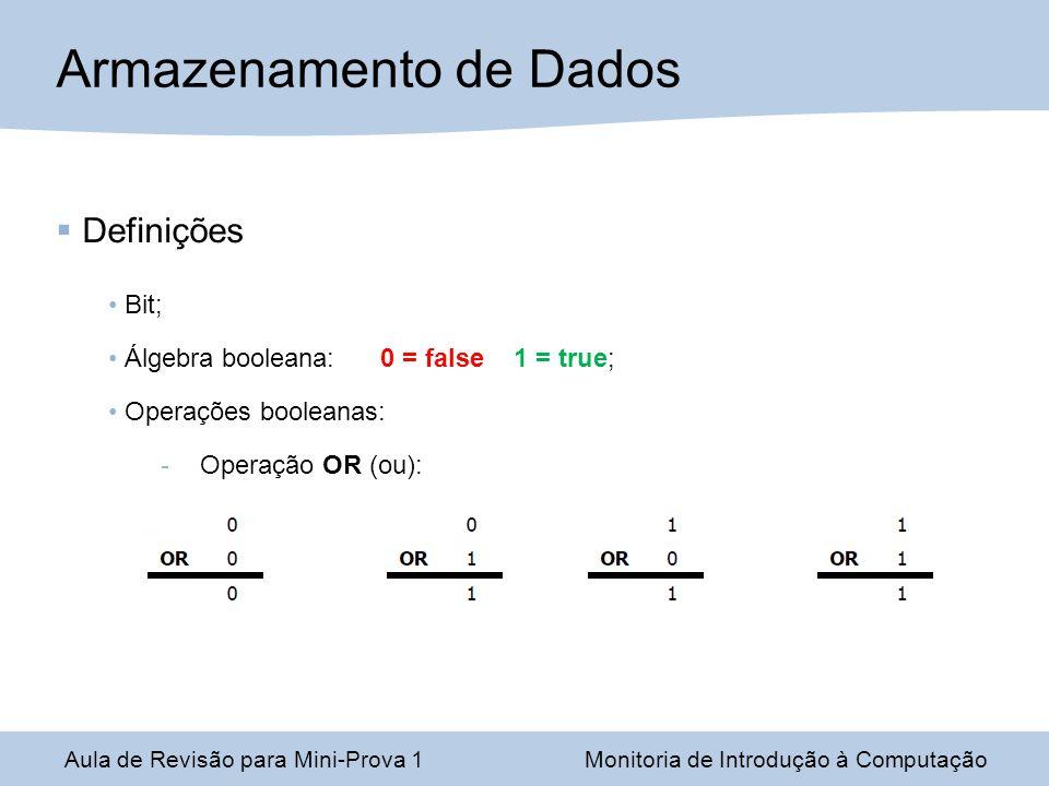 Aula de Revisão para Mini-Prova 1Monitoria de Introdução à Computação Armazenamento de Dados Definições Bit; Álgebra booleana: 0 = false 1 = true; Ope