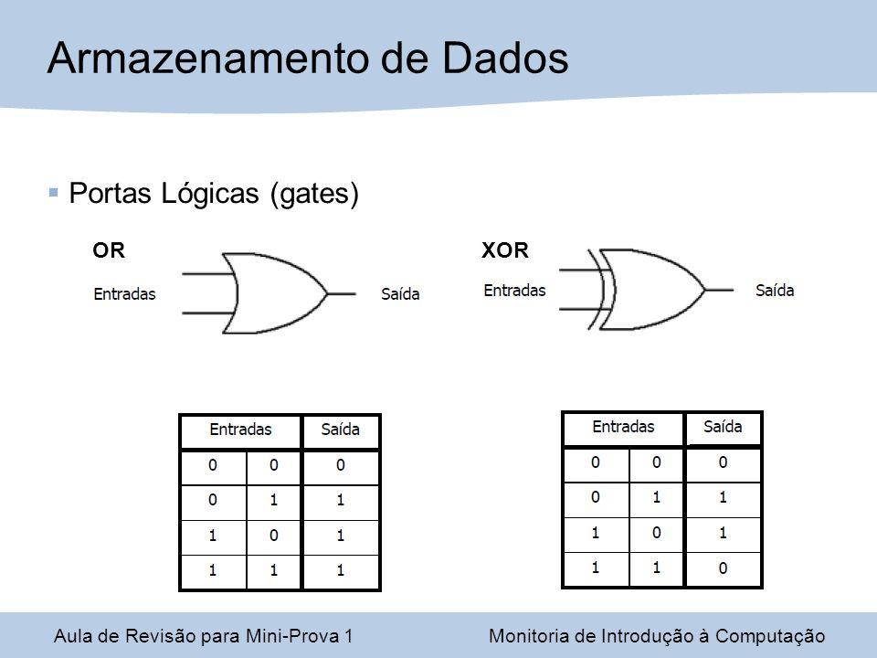 Aula de Revisão para Mini-Prova 1Monitoria de Introdução à Computação Armazenamento de Dados Portas Lógicas (gates) ORXOR