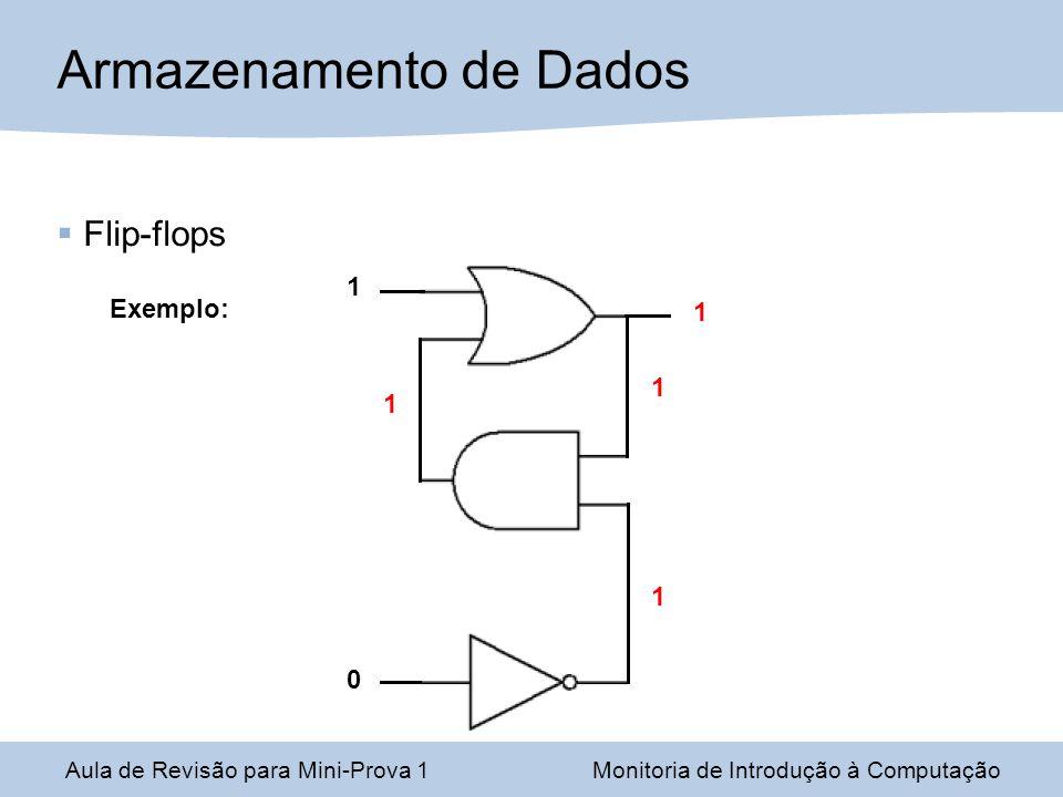 Aula de Revisão para Mini-Prova 1Monitoria de Introdução à Computação Armazenamento de Dados Flip-flops Exemplo: 0 1 1 1 1 1
