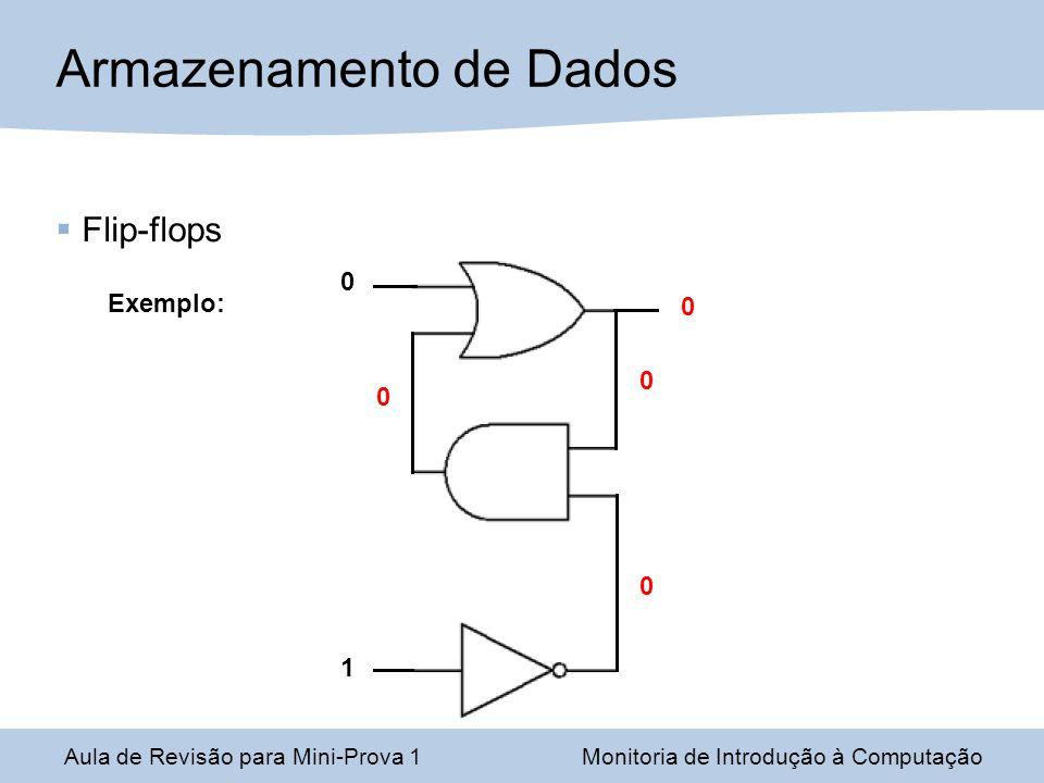 Aula de Revisão para Mini-Prova 1Monitoria de Introdução à Computação Armazenamento de Dados Flip-flops Exemplo: 1 0 0 0 0 0