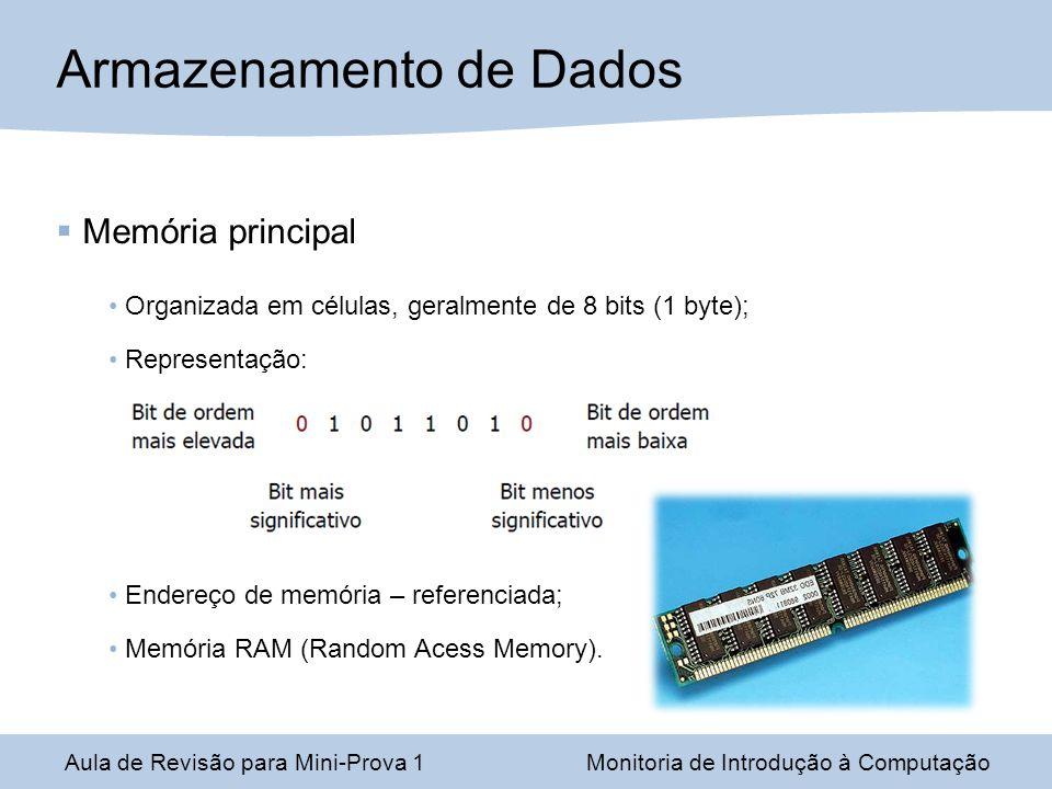 Aula de Revisão para Mini-Prova 1Monitoria de Introdução à Computação Armazenamento de Dados Memória principal Organizada em células, geralmente de 8