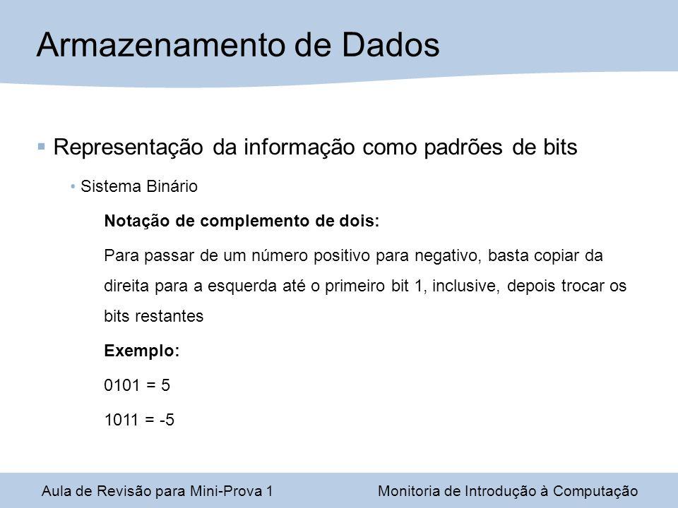 Aula de Revisão para Mini-Prova 1Monitoria de Introdução à Computação Armazenamento de Dados Representação da informação como padrões de bits Sistema