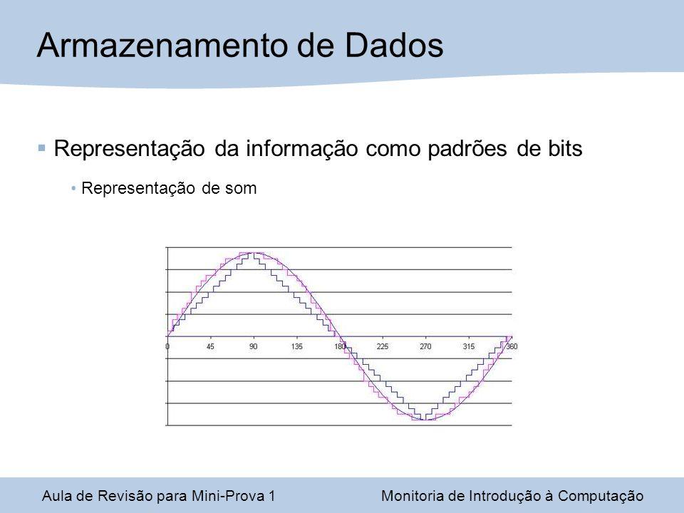 Aula de Revisão para Mini-Prova 1Monitoria de Introdução à Computação Armazenamento de Dados Representação da informação como padrões de bits Representação de som