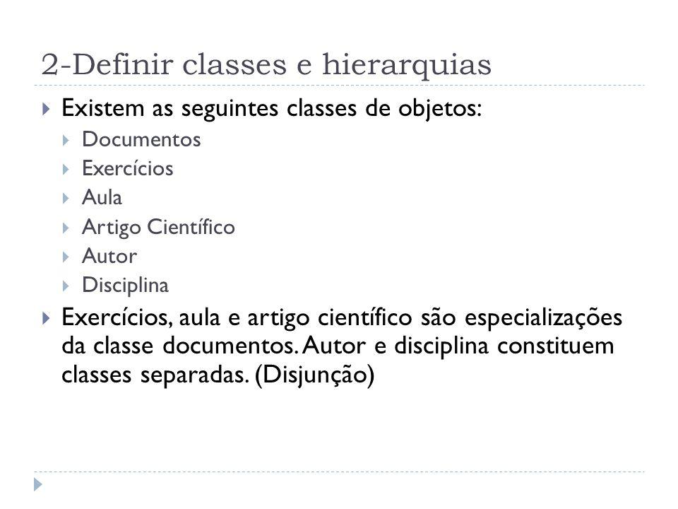 2-Definir classes e hierarquias Existem as seguintes classes de objetos: Documentos Exercícios Aula Artigo Científico Autor Disciplina Exercícios, aula e artigo científico são especializações da classe documentos.