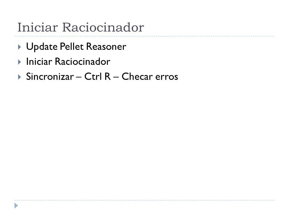 Iniciar Raciocinador Update Pellet Reasoner Iniciar Raciocinador Sincronizar – Ctrl R – Checar erros