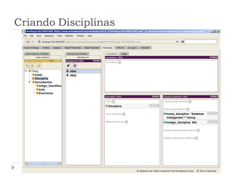 Criando Disciplinas