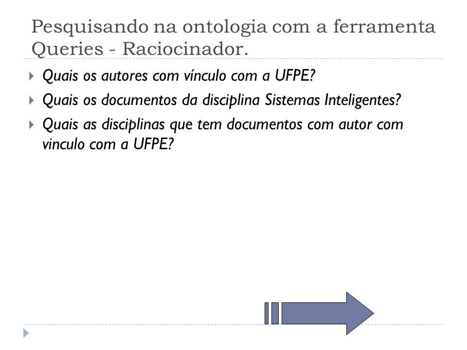 Pesquisando na ontologia com a ferramenta Queries - Raciocinador. Quais os autores com vínculo com a UFPE? Quais os documentos da disciplina Sistemas