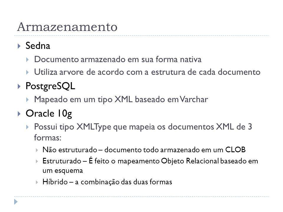 Armazenamento Sedna Documento armazenado em sua forma nativa Utiliza arvore de acordo com a estrutura de cada documento PostgreSQL Mapeado em um tipo