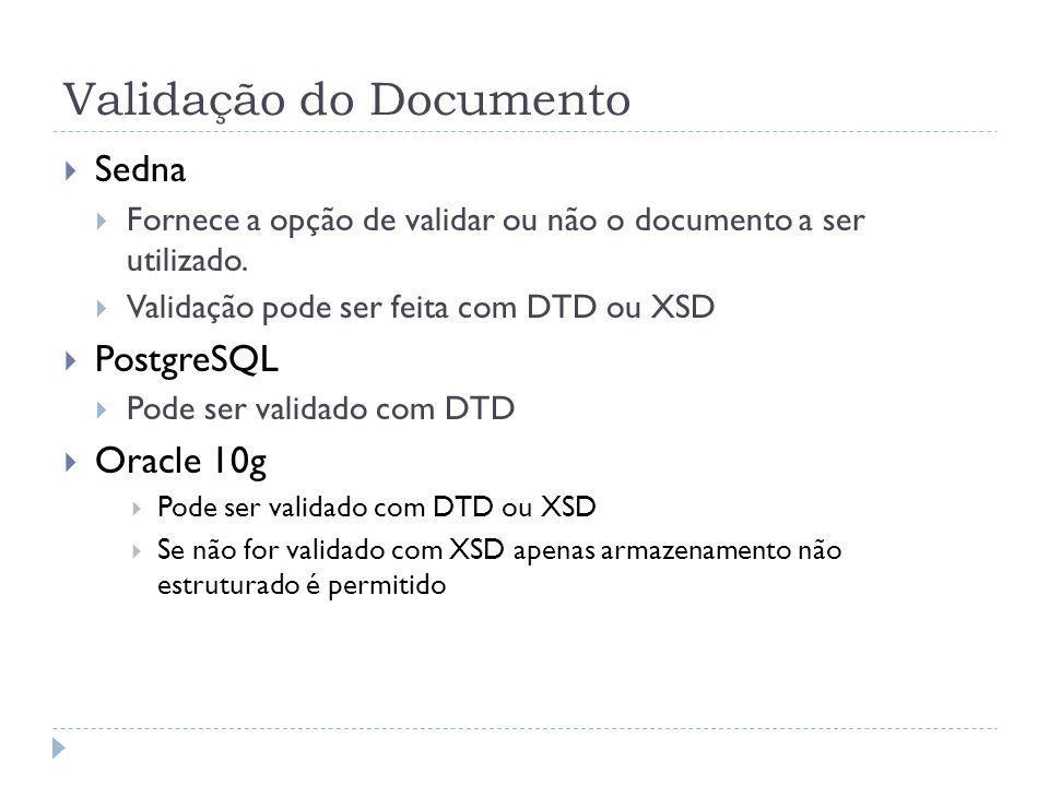 Validação do Documento Sedna Fornece a opção de validar ou não o documento a ser utilizado. Validação pode ser feita com DTD ou XSD PostgreSQL Pode se