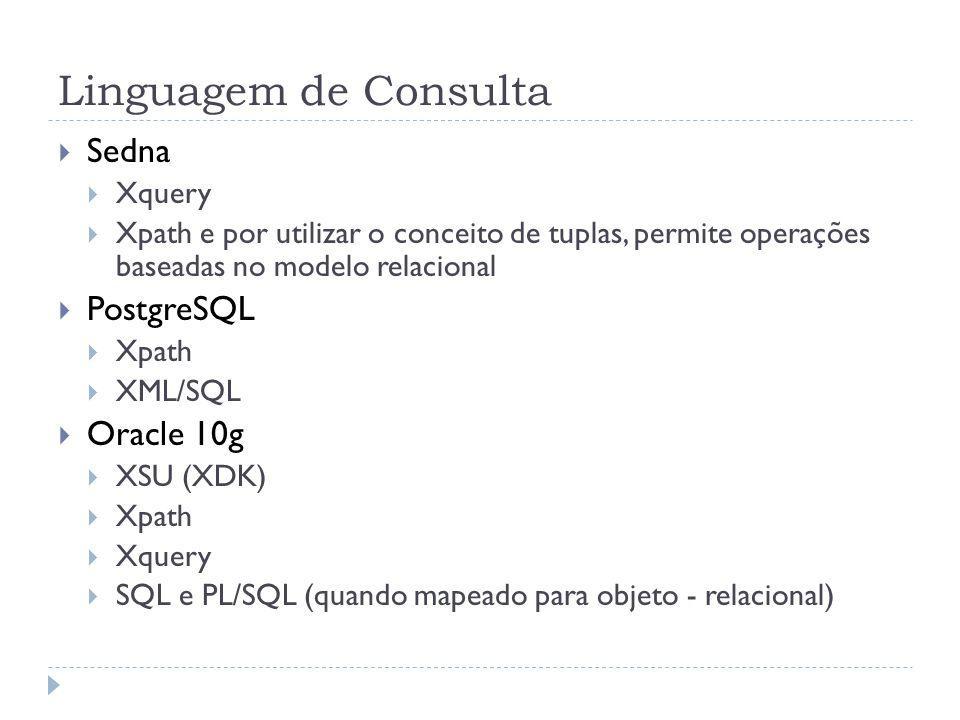 Linguagem de Consulta Sedna Xquery Xpath e por utilizar o conceito de tuplas, permite operações baseadas no modelo relacional PostgreSQL Xpath XML/SQL Oracle 10g XSU (XDK) Xpath Xquery SQL e PL/SQL (quando mapeado para objeto - relacional)