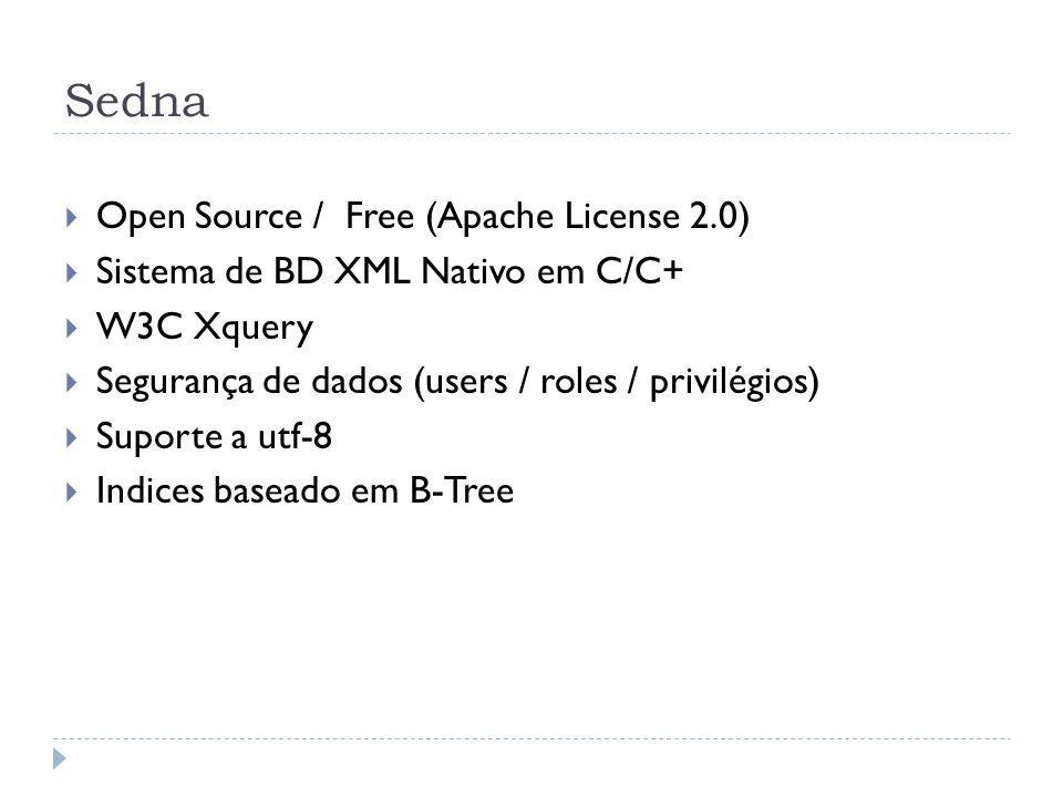 Sedna Open Source / Free (Apache License 2.0) Sistema de BD XML Nativo em C/C+ W3C Xquery Segurança de dados (users / roles / privilégios) Suporte a utf-8 Indices baseado em B-Tree