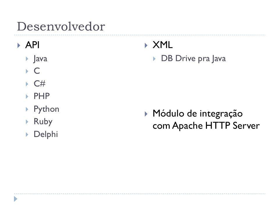 Desenvolvedor API Java C C# PHP Python Ruby Delphi XML DB Drive pra Java Módulo de integração com Apache HTTP Server
