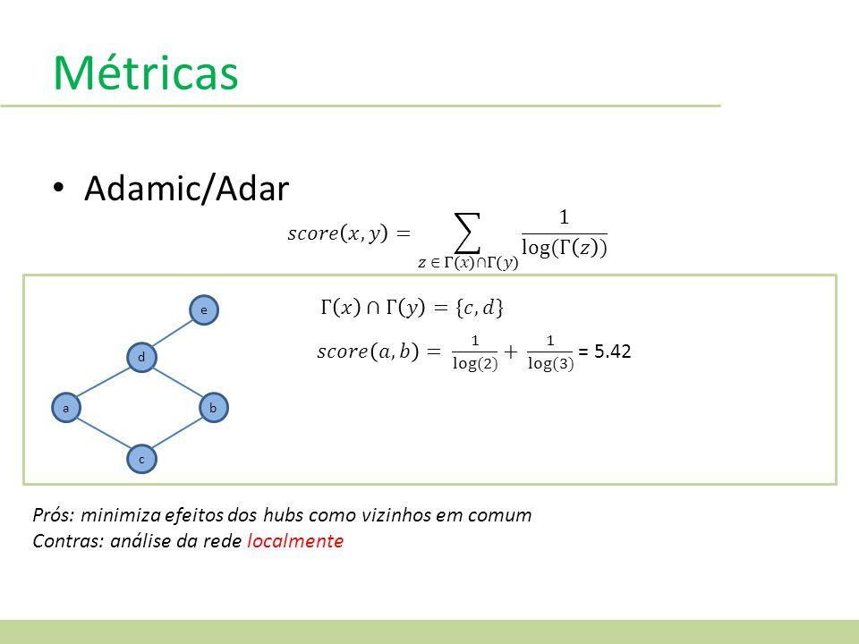 Métricas Adamic/Adar a d c b e Prós: minimiza efeitos dos hubs como vizinhos em comum Contras: análise da rede localmente