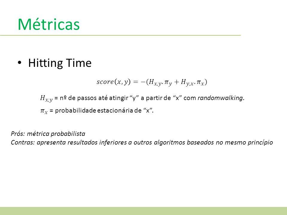 Métricas Hitting Time Prós: métrica probabilista Contras: apresenta resultados inferiores a outros algoritmos baseados no mesmo princípio