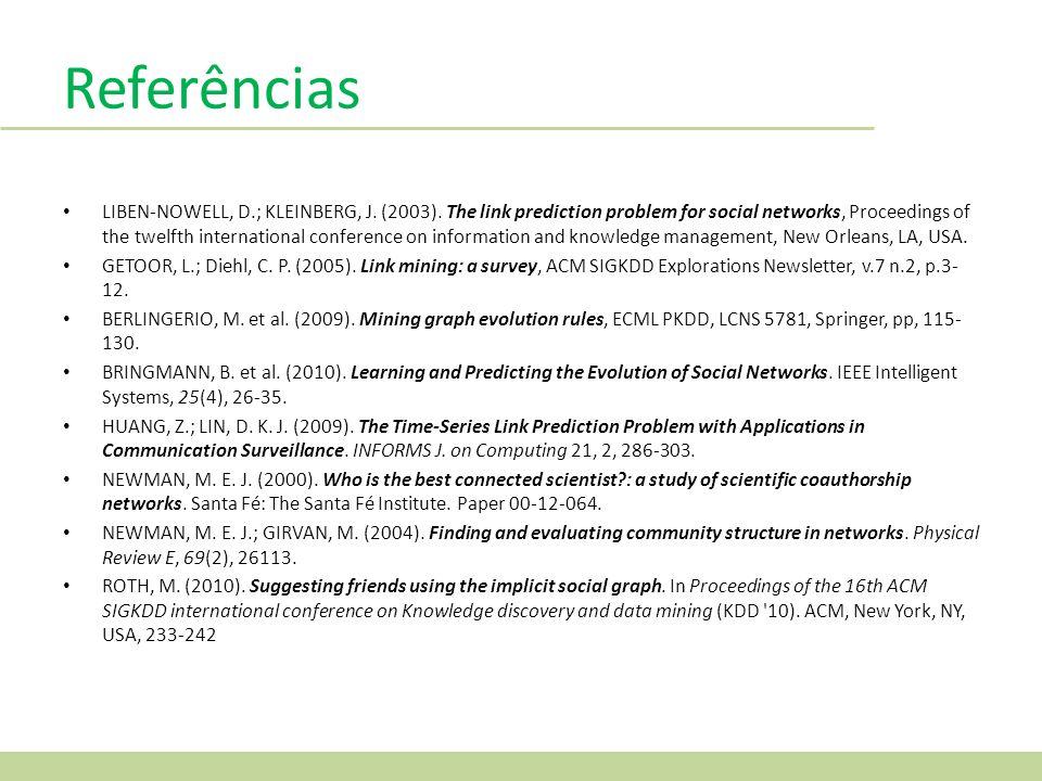 Referências LIBEN-NOWELL, D.; KLEINBERG, J.(2003).