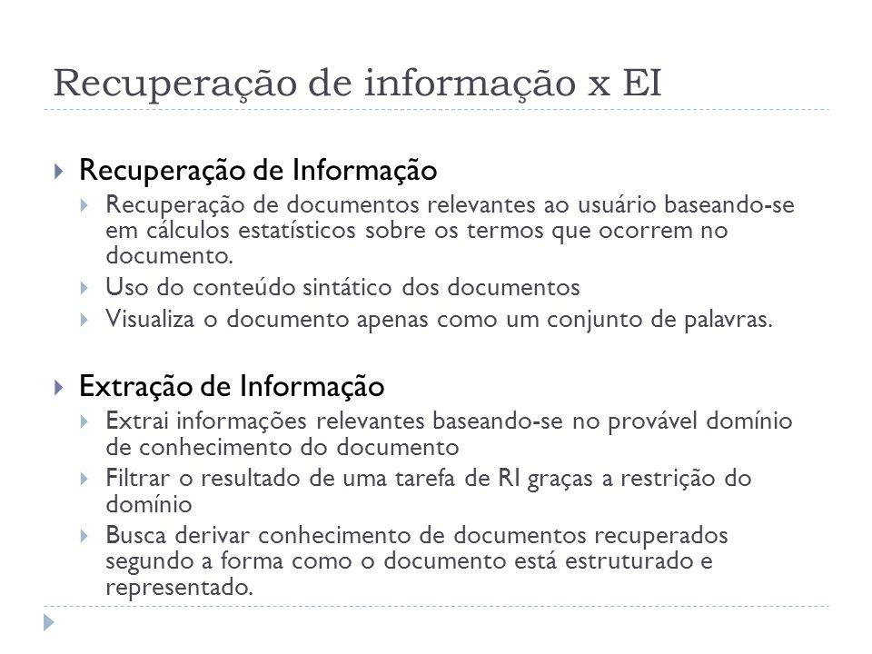 Recuperação de informação x EI Recuperação de Informação Recuperação de documentos relevantes ao usuário baseando-se em cálculos estatísticos sobre os