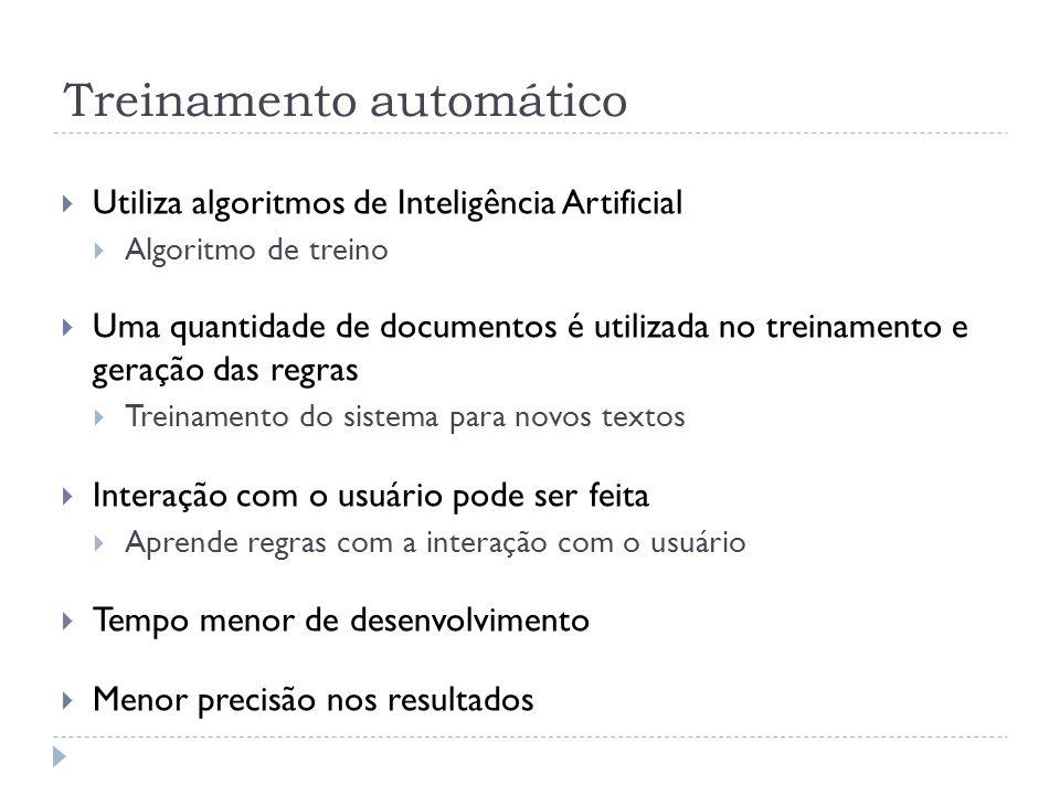 Treinamento automático Utiliza algoritmos de Inteligência Artificial Algoritmo de treino Uma quantidade de documentos é utilizada no treinamento e ger