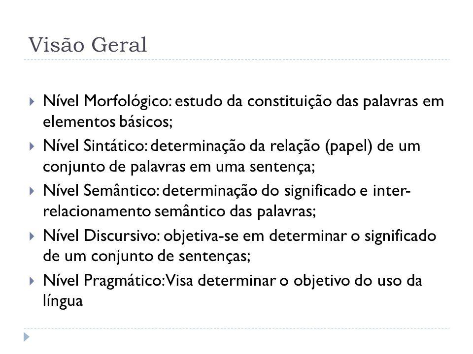 Visão Geral Nível Morfológico: estudo da constituição das palavras em elementos básicos; Nível Sintático: determinação da relação (papel) de um conjun