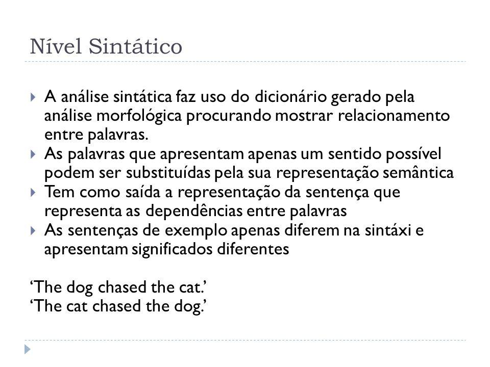 Nível Sintático A análise sintática faz uso do dicionário gerado pela análise morfológica procurando mostrar relacionamento entre palavras. As palavra