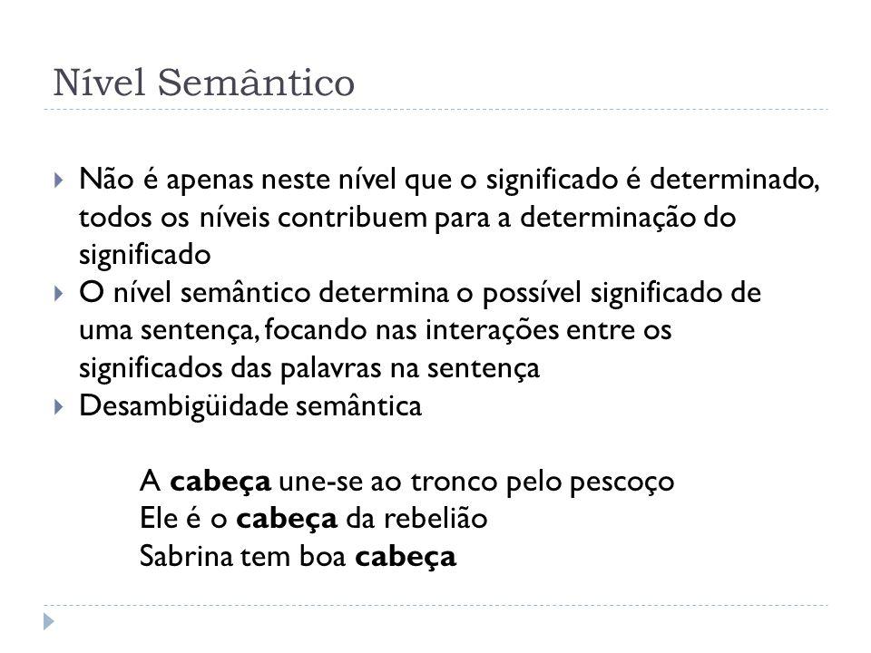 Nível Semântico Não é apenas neste nível que o significado é determinado, todos os níveis contribuem para a determinação do significado O nível semânt