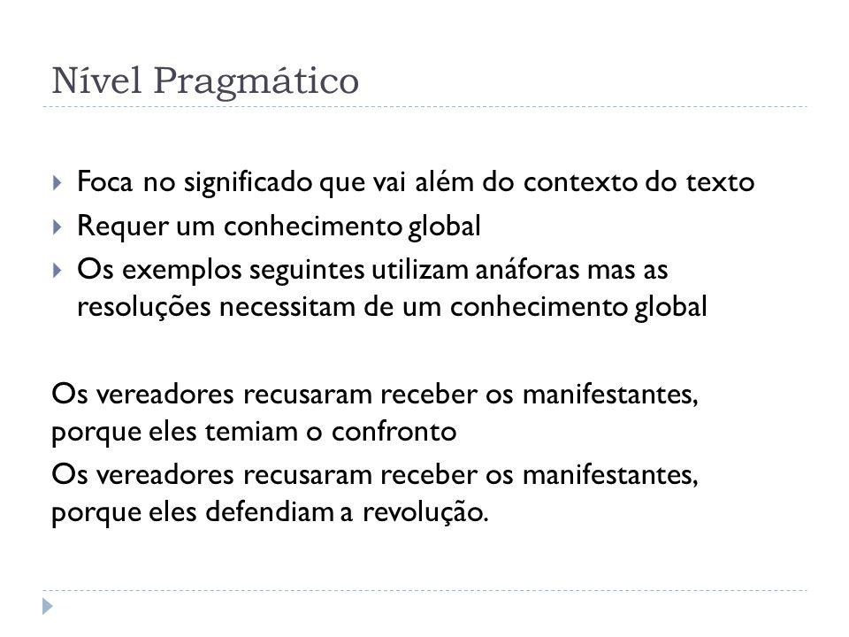 Nível Pragmático Foca no significado que vai além do contexto do texto Requer um conhecimento global Os exemplos seguintes utilizam anáforas mas as re