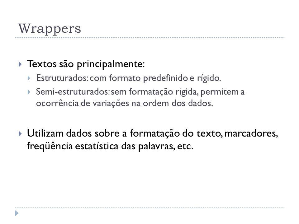 Wrappers Textos são principalmente: Estruturados: com formato predefinido e rígido. Semi-estruturados: sem formatação rígida, permitem a ocorrência de